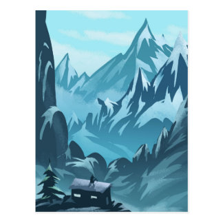 House in Mountains Winter Season Postcard