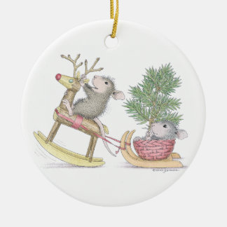 House-Mouse Designs® - Baby's First Christmas Round Ceramic Decoration