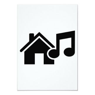 House music note 3.5x5 paper invitation card