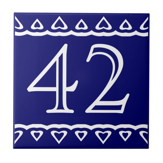 House Number - Hearts White on Blue Tile
