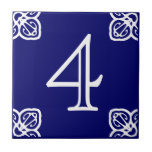 House Number - Spanish White on Blue Small Square Tile