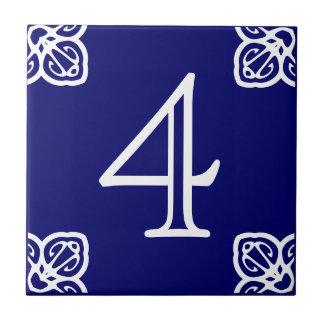 House Number - Spanish White on Blue Ceramic Tile