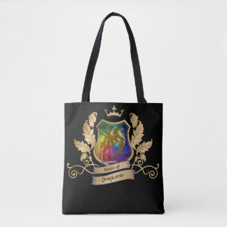 House of Dragicorns Crest gold rainbow leaves Tote Bag