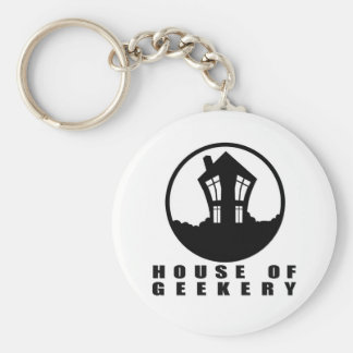 House of Geekery Logo + Name Basic Round Button Key Ring