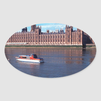 House of Parliament , London Oval Stickers