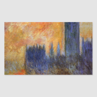 House of Parliament Sun by Claude Monet Rectangular Sticker