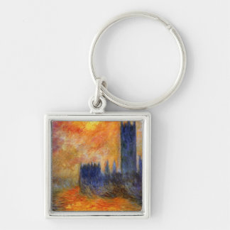 House of Parliament Sun Silver-Colored Square Key Ring
