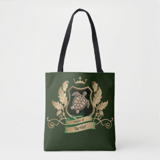 House of Turtles Crest Design Bag Tote Green Gold