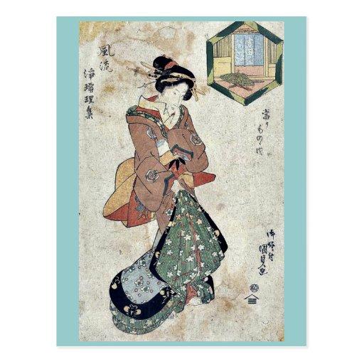 House of Yoshida by Utagawa, Toyokuni Ukiyoe Post Card