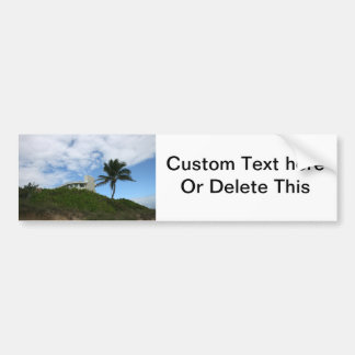 House on Hill with sky and palm tree in Florida Car Bumper Sticker