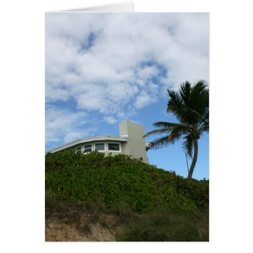 House on Hill with sky and palm tree in Florida Greeting Card