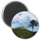 House on Hill with sky and palm tree in Florida Magnets