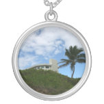 House on Hill with sky and palm tree in Florida Necklaces