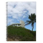 House on Hill with sky and palm tree in Florida Note Book