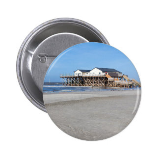 House on stilts at the beach of St. Peter Ording 6 Cm Round Badge