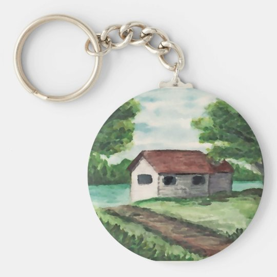 House on the River Basic Round Button Key Ring
