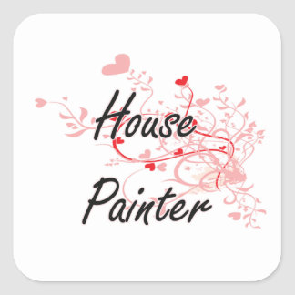 House Painter Artistic Job Design with Hearts Square Sticker
