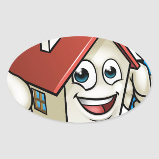 House Painting Cartoon Character Oval Sticker