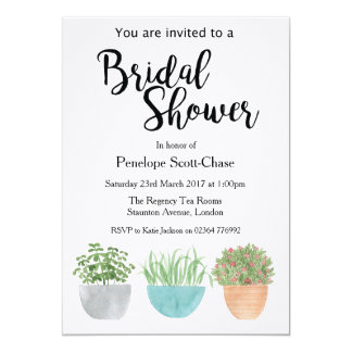 House plants succulents Bridal Shower invitation