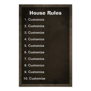 Funny House Rules Posters Prints Zazzle Uk