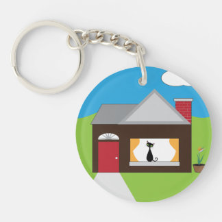 House Sitting Single-Sided Round Acrylic Keychain