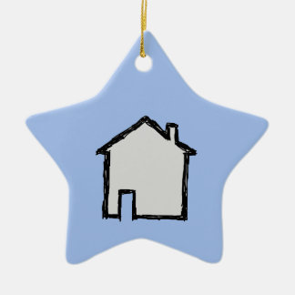 House Sketch. Black and Blue. Ceramic Star Decoration