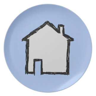 House Sketch. Black and Blue. Plate