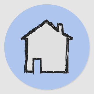 House Sketch. Black and Blue. Round Sticker