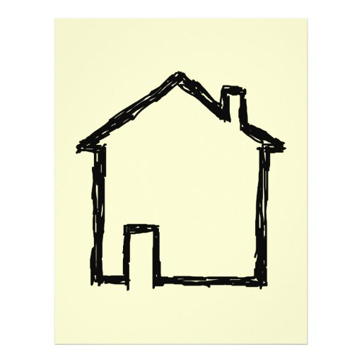House Sketch. Black and Cream. 21.5 Cm X 28 Cm Flyer