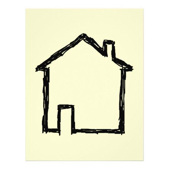 House Sketch. Black and Cream. 21.5 Cm X 28 Cm Flyer