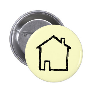 House Sketch. Black and Cream. 6 Cm Round Badge
