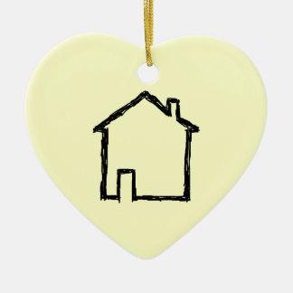 House Sketch. Black and Cream. Ceramic Heart Decoration