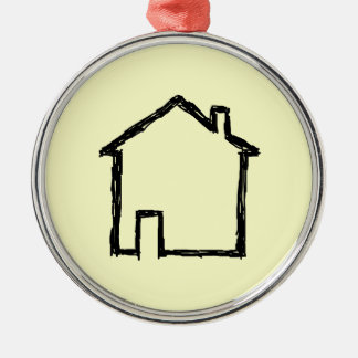 House Sketch. Black and Cream. Christmas Ornament