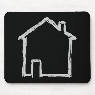 House Sketch. Gray and Black. Mouse Mat
