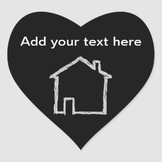 House Sketch Gray and Black Heart Stickers