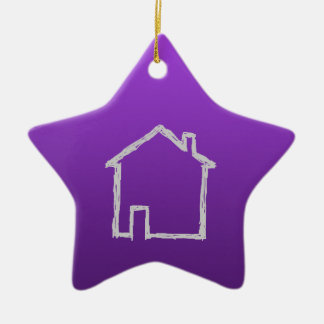House Sketch. Gray and Purple. Ceramic Star Decoration
