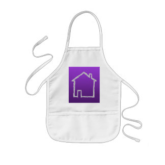 House Sketch. Gray and Purple. Kids Apron