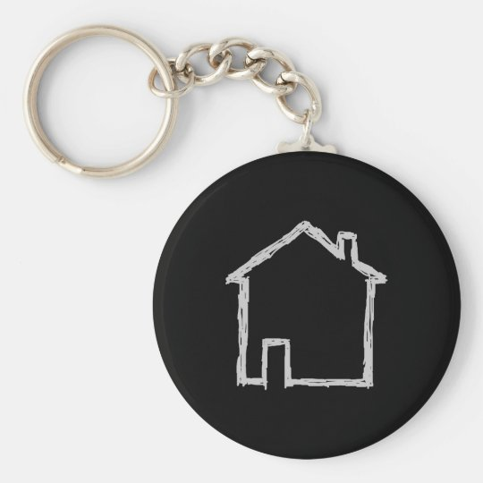 House Sketch. Grey and Black. Basic Round Button Key Ring