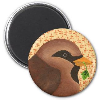 House Sparrow 6 Cm Round Magnet