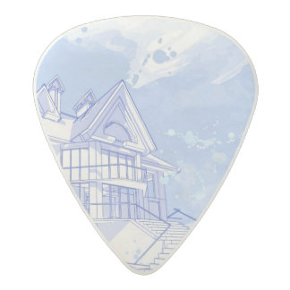 house: watercolor draw acetal guitar pick