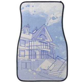 house: watercolor draw car mat
