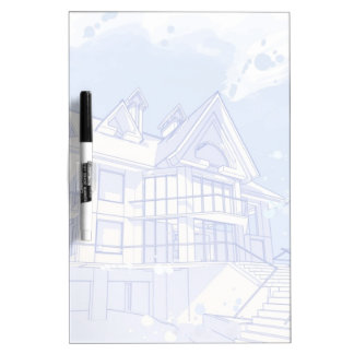 house: watercolor draw dry erase board