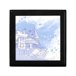 house: watercolor draw gift box