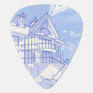 house: watercolor draw guitar pick