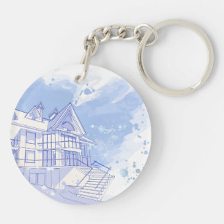 house: watercolor draw key ring