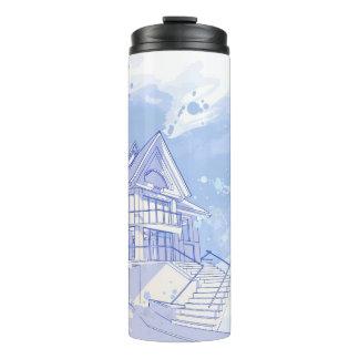 house: watercolor draw thermal tumbler