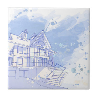 house: watercolor draw tile