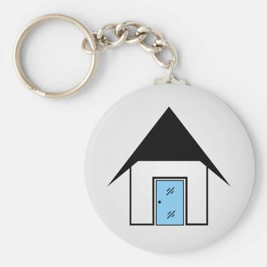 House with glass door basic round button key ring