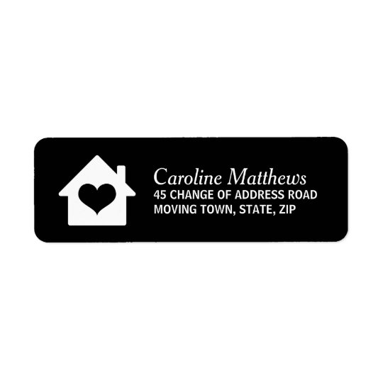 House with heart on black background return address label