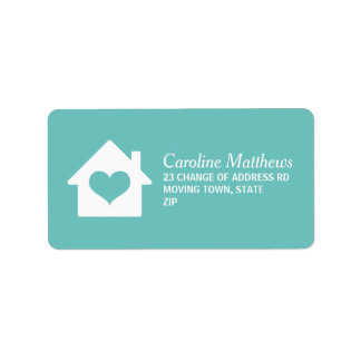House with heart on ocean blue background label